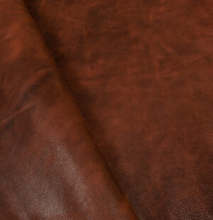 Distressed Dark brown- chocolate colour goat leather hide