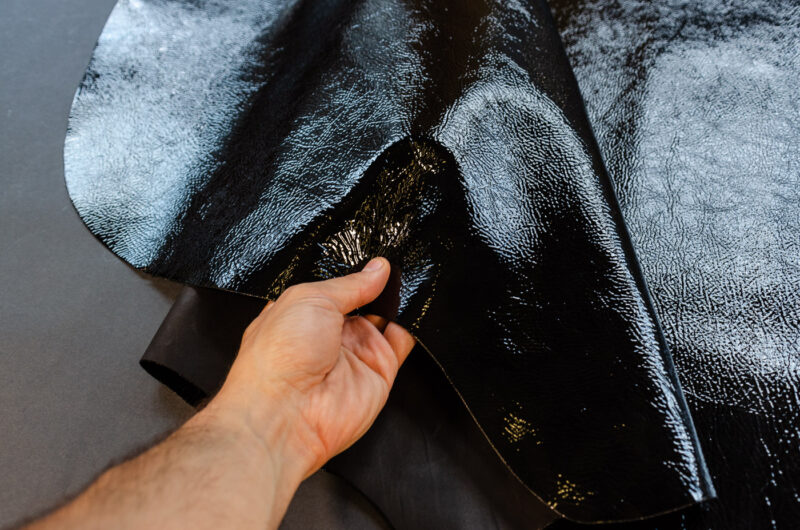 black laminated leather